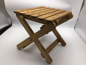"""Doll Display Table Nevco Folding Wood Wooden Bench Collapsible Slat 9"""" Vintage"""