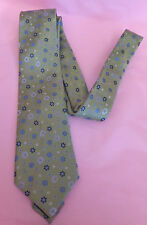 Brook Taverner 100% silk green tie with blue and white floral patterning