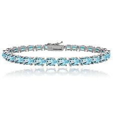 925 Silver 17ct Swiss Blue Topaz Oval Tennis Bracelet, 7.5""