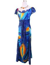 Vtg Retro 80s Fashion Womens Blue Lace & Satin Scoop Maxi Long Dress sz L AV45