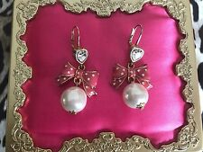Betsey Johnson Vintage Tea Party Pink Polka Dot Bow Heart Glass Pearl Earrings