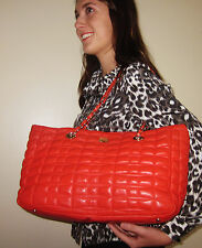 Kate Spade LARGE Madelyn FLAME ORANGE Leather Tote Bag QUILTED BOW BEAU