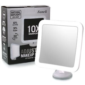 Mirror Cosmetic With Light LED Suction Cup 10 Increases Rotate 360 Travel White