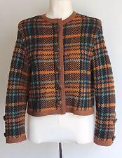 1980's Vintage Yves Saint Laurent Rive Gauche Plaid Check Boxy Crop Jacket Uk 14