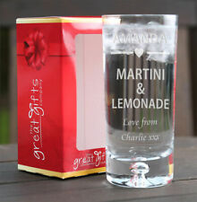 Personalised Engraved Boxed Martini & Lemonade Glass Gift Birthday Xmas Heart