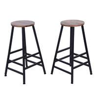 Set Of 2 Bar Stools Wood Adjustable Swivel Bistro Pub Dining Chair Kitchen