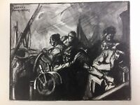Marine Guerre Naval 14/18 Charles Fouqueray Lithography Antique Cast Signed