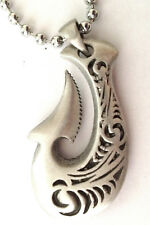 Maori Symbol Double Sided Pewter Pendant Mens Boys Womens chain necklace  PC0604