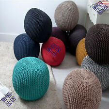 NEW MOROCCAN KNITTED LARGE POUFFE CHUNKY KNIT FOOT STOOL CUSHION 100% COTTON