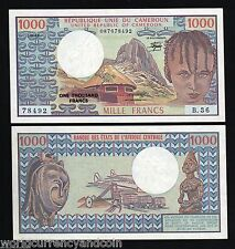 CAMEROUN CAMEROON 1000 FRANCS P16D 1982 RHUMSIKI UNC* PEAK AIR PLANE TRAIN NOTE