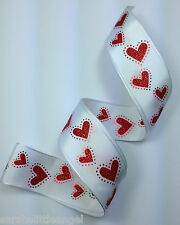 RIBBON with GLITTER HEARTS, 1 Mtr, Gifts/Cards/Bows/Party/Birthday/Love