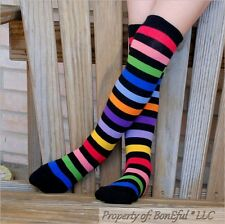 BonEful Boutique RTS NEW Cotton Knit GIRL KNEE High SOCKS S Rainbow Stripe Clown