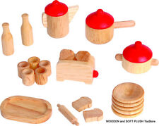 *NEW child's toy doll house wooden KITCHENWARE TABLEWARE 22 pieces pretend play