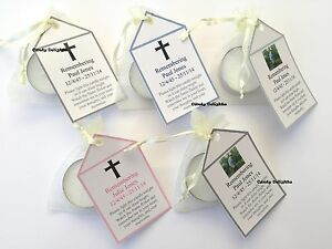 30 Remembrance  , Funeral DIY Organza bag, Candle & Personalised Tag Favours