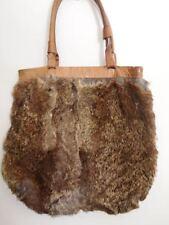 VINTAGE GENUINE MACKAGE leather rabbit fur BOHO HIPPY Purse TOTE Festival BAG
