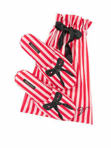 VICTORIAS SECRET SIGNATURE SATIN & BOW SLIPPERS DUST BAG RED PINK S M L NWT