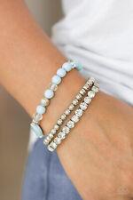 Paparazzi jewelry white rhinestones blue beads stretch bracelet