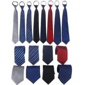 Lazy Men's Zipper Necktie Solid Striped Casual Business Wedding Zip Up Neck~AU