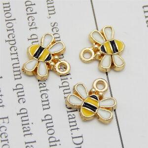 20-pack Tiny Bee Charm Enamel Honeybee For Earring Dangle Insect Pendant 11*10mm