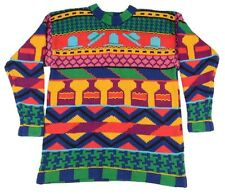 MM by KRIZIA Colorful Vintage Beaded 80's Cotton Womens Scoop Neck Sweater LARGE