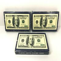 Vintage Lot of 6 Decks Royal Plastic Coated - $100 Dollar Bill Playing Cards