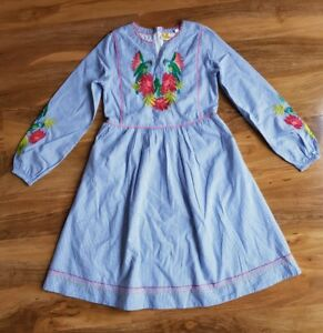 Mini Boden Girls EMBROIDERED BOHO Long Sleeve LINED COTTON Dress Brand new G0612