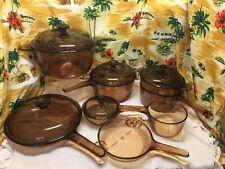 13 Pc Vintage Vision Pyrex Amber Glass Cookware Dutch Oven, Skillet, Sauce Pans