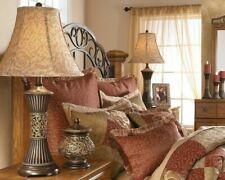 Table Lamps For Living Room Bedroom Set 2 Elegant Floral Bronze Gold Bell Shade