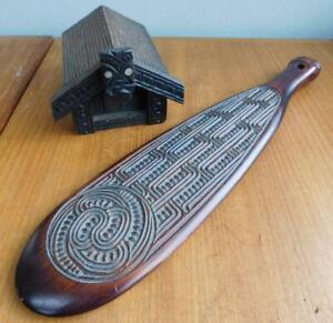 2x Vintage Maori Carving Intricate Patu Club & Long House Box Polynesian Art