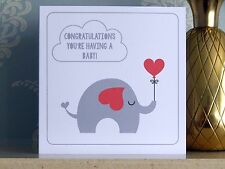 Congratulations You're Having a Baby Card - Elephant Red Hearts (New Baby Cards)