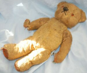 """Old antique Teddy Bear jointed with glass eyes - 15"""" in height"""