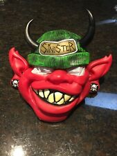 Red Sinister Mask Black Horns Red Face Pointed Ears Gages Evil Halloween