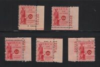 1941 Postal Savings PS11 MH full OG Unused lot of 5 with plate numbers