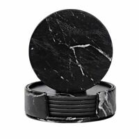 Coasters Drinks 6-piece Holder Marble Black Round Cup Mat Pad Set Home Kitchen