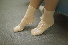 Non Skid Slipper Socks - 4 PAIRS - Tan (Beige) color - Size M - FREE FAST SHIP