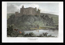 KIDWELLY CASTLE 1813 William Woolnorth - John Preston Neale ANTIQUE ENGRAVING