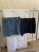 Lot of 2  Women's Straight DENIM SKIRT  Size 14W  Style & Co