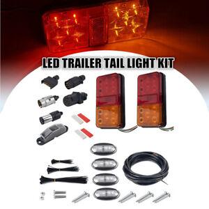 12V 2W LED TRUCK TRAILER TAIL LIGHT KIT PAIR PLUG 5 CORE WIRE CARAVAN BOAT UTE