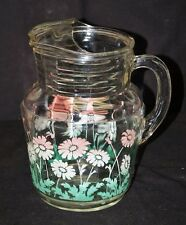 Vintage Glass Pitcher w Ice Guard Pink & White Daisy & Green Leaves Kitchen Tool
