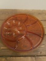 "Vintage Indiana Tiara Tree of Life Amber Glass Deviled Egg Relish Tray 13"" Heavy"