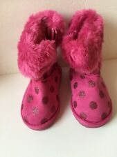 Size 6 girls toddler pink Polka Dot Fuzzy Boot Snow Boot Winter Boot Zipper