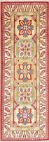NEW Geometric 2x6 ft GREEN/PURPLE/RED Runner Kazak Pakistan Oriental Wool Rug