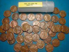 1931-P&D, 1932-P&D, 1933-P&D LINCOLN WHEAT CENT ROLL, 50 coins, tough dates!