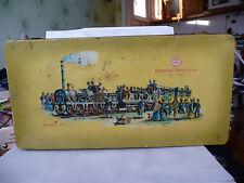 Large tin box Marke Teekanne Old vintage train locomotive wagons used rare 380mm