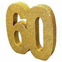 60th Birthday Gold Glitter Table Decoration, Centrepiece, by CREATIVE PARTY