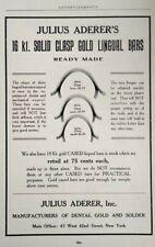 1917 Julius Aderer Antique Gold Dental Art Vintage Print Ad