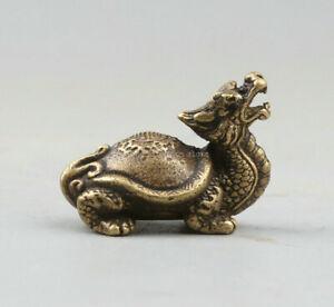 34MM/37g Chinese Bronze Dragon Tortoise Longevity Turtle Rui Beast Small Statue