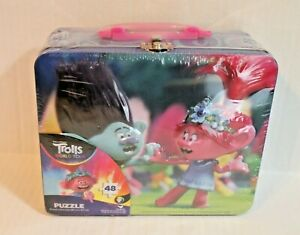 Trolls World Tour Jigsaw Puzzle for Kids in Metal Lunch Box Storage Tin NEW