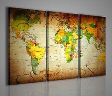 QUADRO MODERNO PAPER OF THE WORLD STAMPA SU TELA MAPPA DEL MONDO QUADRI MODERNI