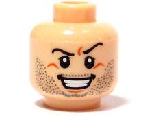 LEGO - Minifig, Head Beard Stubble, Arched Eyebrow, Bared Teeth Pattern